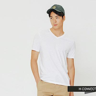 H:CONNECT 韓國品牌 男裝-舒適感小V領上衣-白