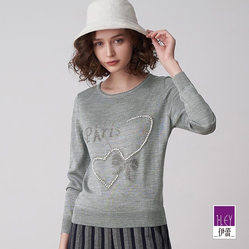 ILEY伊蕾 愛心燙鑽羊毛混紡針織上衣(灰)