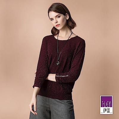 ILEY伊蕾 閃亮織蔥彈力連袖上衣(紫)