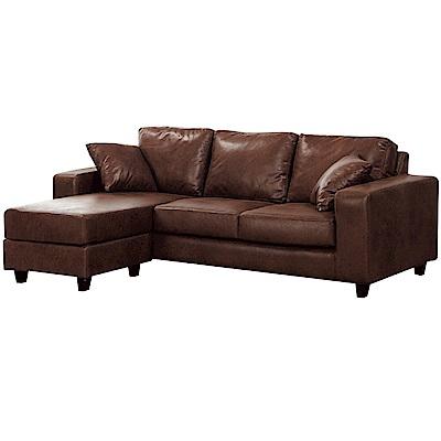 品家居 馬爾多現代皮革L型沙發組合(三人座+椅凳)-198x138x75cm免組