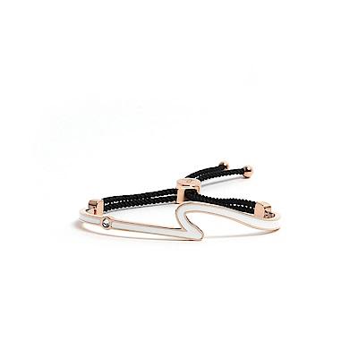 agnes b. 反諷點Logo白色琺瑯玫瑰金手環(黑棉繩)