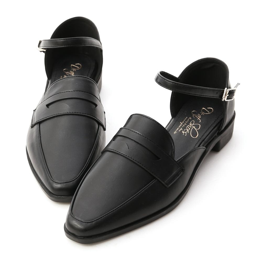 D+AF 學院時光.微尖頭踝繫帶樂福鞋*黑