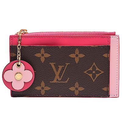 LV M67494經典Monogram帆布印花牛皮飾邊花卉拉鍊卡片夾/零錢包