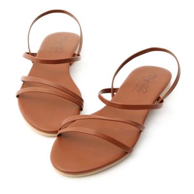 D+AF 夏氛首選.精緻細帶平底涼鞋*棕
