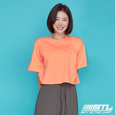 STL yoga 韓國瑜珈 METRO BIO Overfit Crop SS 運動機能100%棉 地鐵Bio 落肩短版短袖上衣 珊瑚粉橘OrangeCocktail