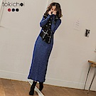 東京著衣 曼妙曲線後開岔多色針織長版洋裝-S.M(共三色)