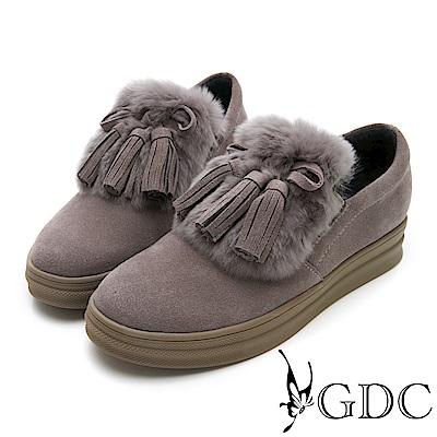 GDC-真皮毛絨蝴蝶結流蘇暖暖短靴-豆沙色