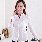EELADY大尺碼-OL立領U壓摺條紋長袖襯衫