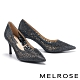 高跟鞋 MELROSE 奢華時尚幾何鏤空透膚水鑽尖頭高跟鞋-黑 product thumbnail 1