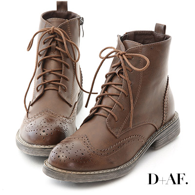 D+AF 英倫風潮.復古雕花綁帶牛津短靴*咖
