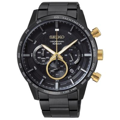 SEIKO 精工 50周年紀念款三眼計時手錶SSB363P1-黑/45mm