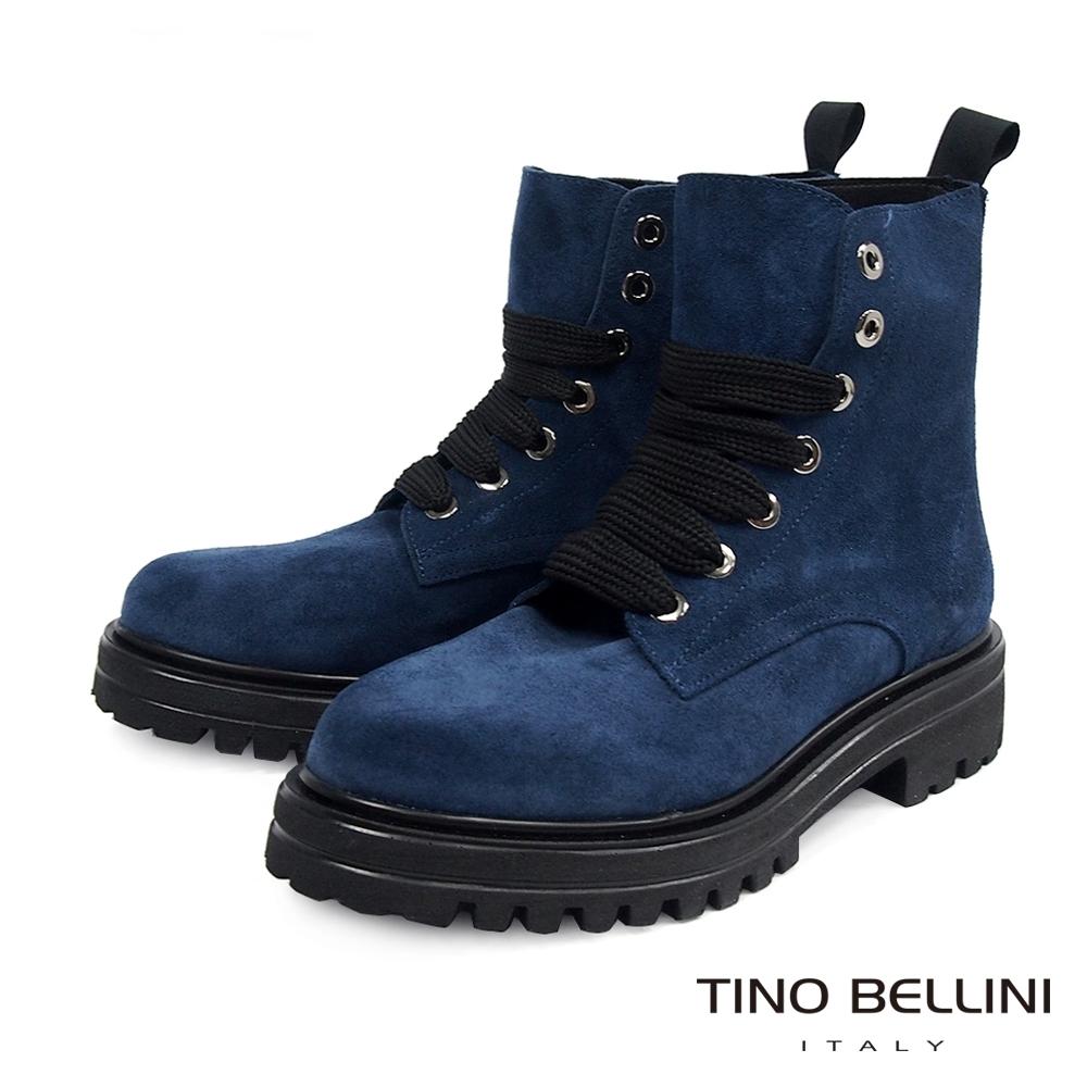 Tino Bellini西班牙進口亮眼全真皮綁帶工程短靴_藍