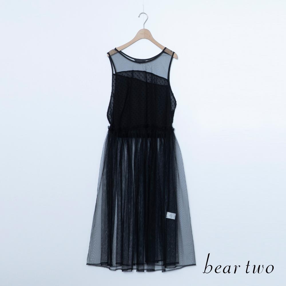 beartwo 透膚網紗無袖百褶洋裝(二色)