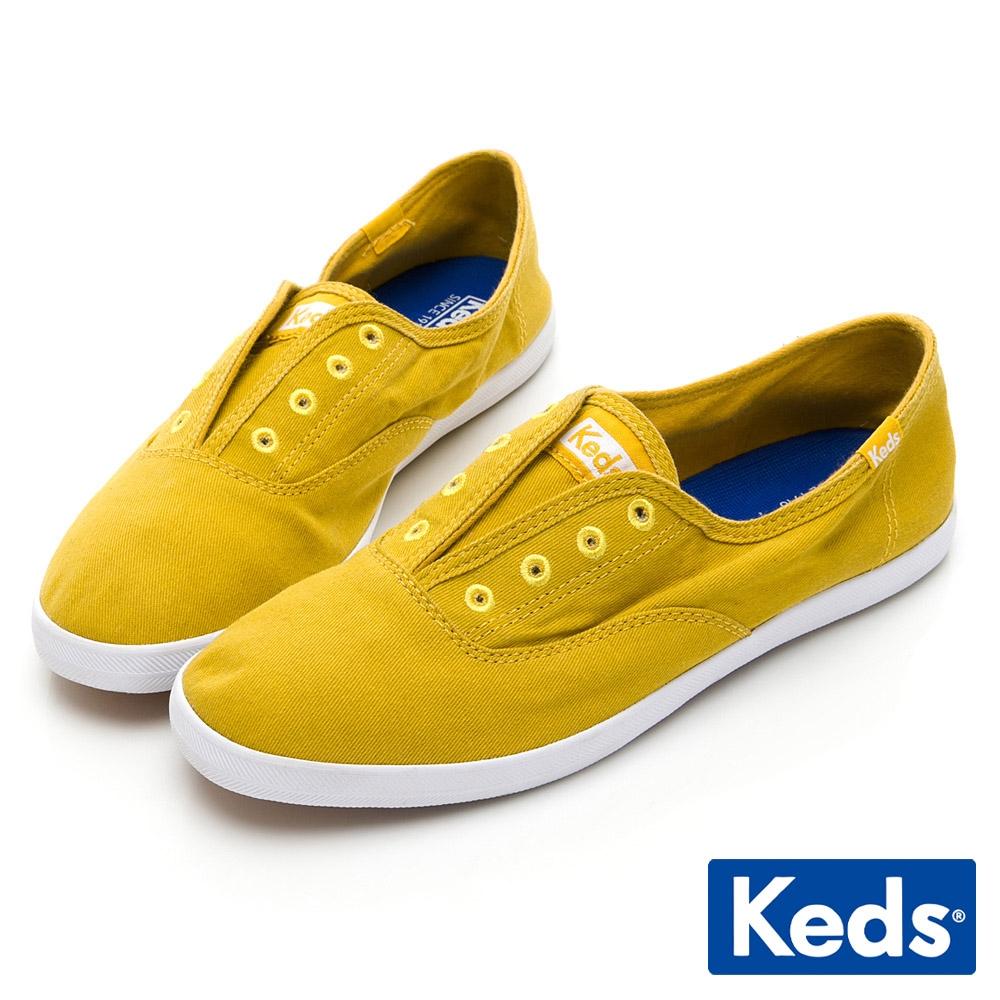 Keds CHILLAX 經典水洗斜紋休閒鞋-芥末黃