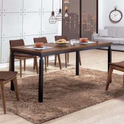 Boden-諾威爾6尺工業風實木餐桌/會議桌/工作桌(胡桃色)