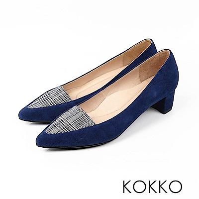KOKKO - 法式優雅尖頭格紋粗跟鞋 -  英格藍