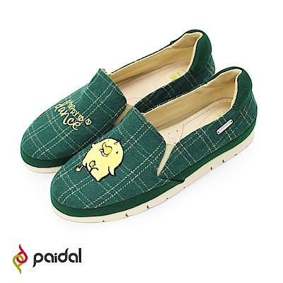 Paidal歡樂舞蹈俏皮鴨毛尼綠格紋加厚休閒鞋