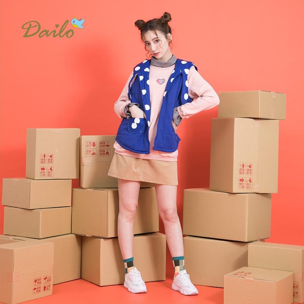 【Dailo】造型連帽點點內裡背心-外套(二色/版型適中)