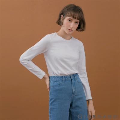 GIORDANO  女裝素色圓領長袖T恤 - 18 皎白