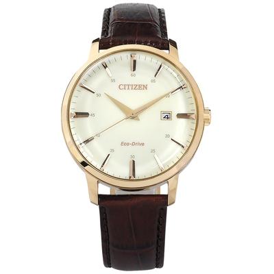CITIZEN 光動能 簡約紳士 日期 小牛皮壓紋手錶-白x香檳金框x紅褐/40mm