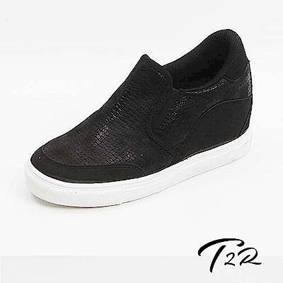 【韓國T2R手工訂製增高鞋】皮革質感拼接麂皮休閒隱形增高鞋-黑