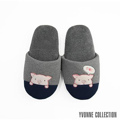 Yvonne Collection 哈囉豬胖胖拖鞋-暗灰/藍M