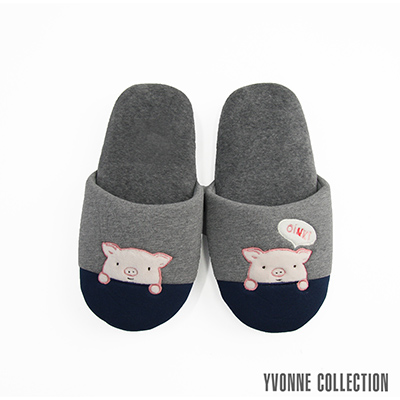Yvonne Collection 哈囉豬胖胖拖鞋-暗灰/藍L