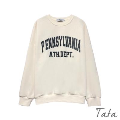 字母膠印落肩薄刷絨上衣 共二色 TATA-(M~XL)