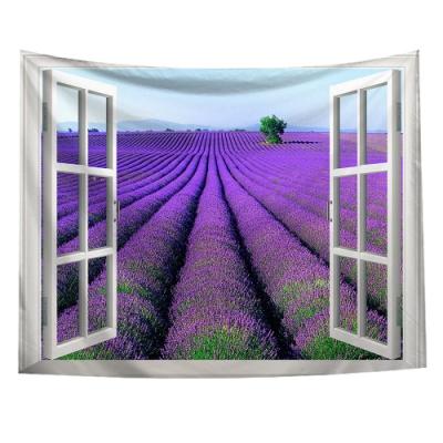 半島良品 北歐風裝飾掛布-窗景系列/窗景-薰衣草 150x130cm