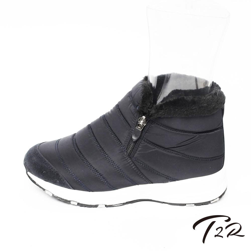 【T2R】溫暖內鋪毛隱形增高質感短靴-深灰