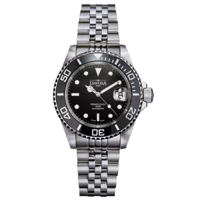 DAVOSA New Ternos Ceramic 200米水鬼系列陶瓷框潛水腕錶-神秘黑/40mm