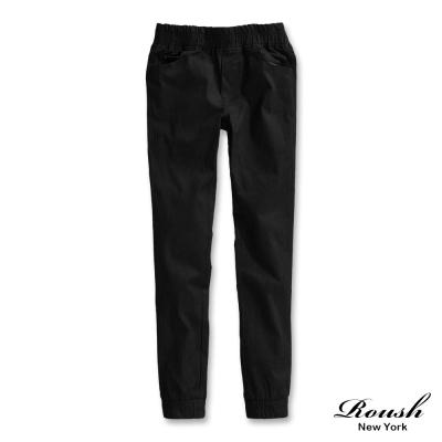 ROUSH 女生口袋皮標裝飾造型彈力縮口褲 (3色)