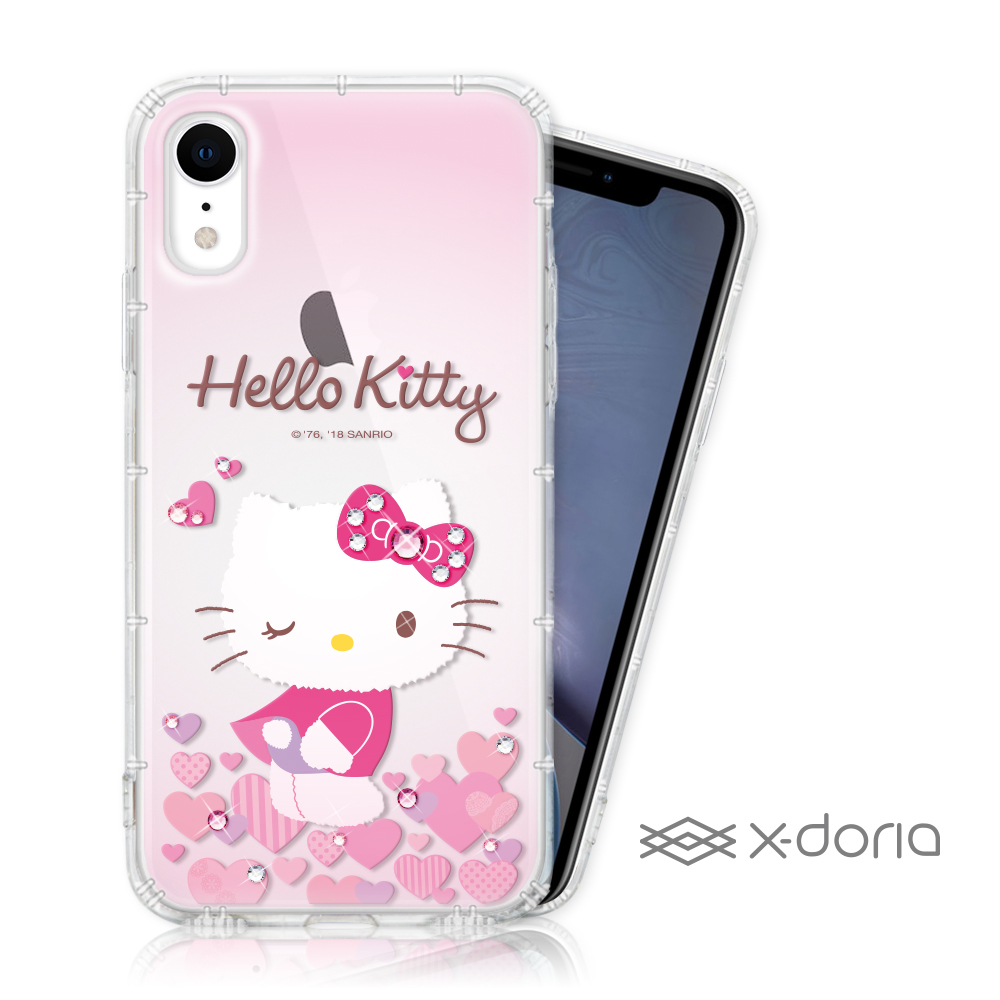 Hello Kitty iPhone XR 彩繪水鑽手機空壓殼 - 心愛