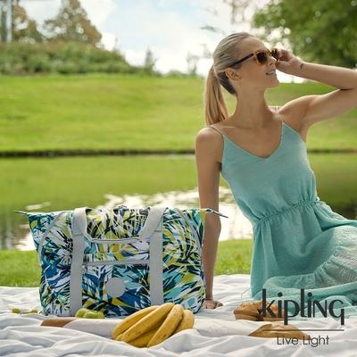Kipling 手繪棕櫚樹印花手提側背包-ART M