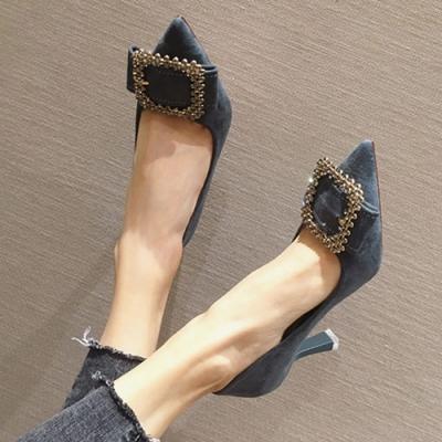 KEITH-WILL時尚鞋館 OL風好感吸晴尖頭細跟鞋-藍
