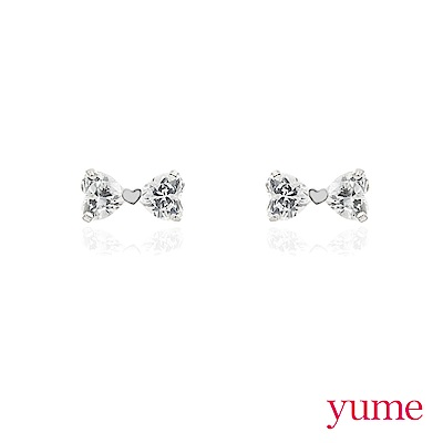 YUME - K金愛心蝴蝶結耳環