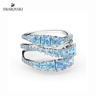 施華洛世奇 Twist Wrap 白金色螺旋曲線藍色戒指 58