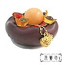 原藝坊 荷葉造型陶瓷 招財福袋 聚寶盆(不含蓋)