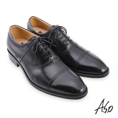 A.S.O 職場通勤 3D超動能雕花牛津紳士鞋-黑