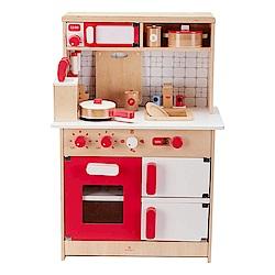 【Muledy 木樂地】經典紅白木製廚房玩具《加送配件14件組》
