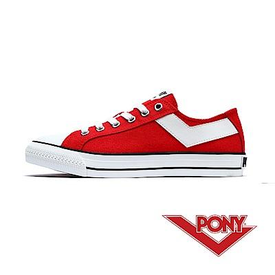 【PONY】Shooter系列百搭復古帆布鞋休閒鞋 女鞋 摩登大紅