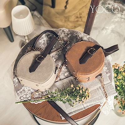 東京著衣-yoco度假感編織手提皮革圓筒包(共二色)