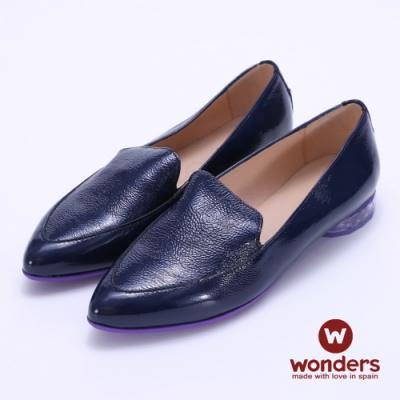 WONDERS -經典素面亮皮尖頭牛皮鞋-藍色