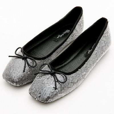 River&Moon韓版小朵結亮片方頭芭蕾娃娃鞋*黑