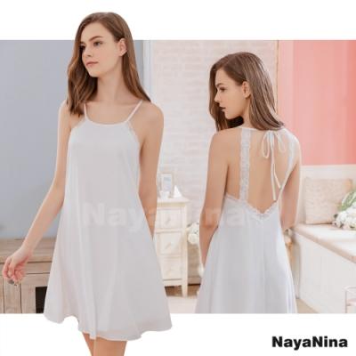 Naya Nina 簡絲柔白美背式蕾絲雪紡居家洋裝睡衣-白F