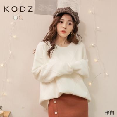 東京著衣-KODZ 魅力百搭菱格紋寬鬆針織上衣