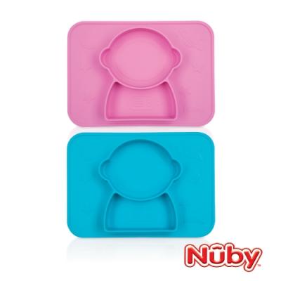 【美國 Nuby】矽膠分隔餐盤/太空人  (藍/粉任選)