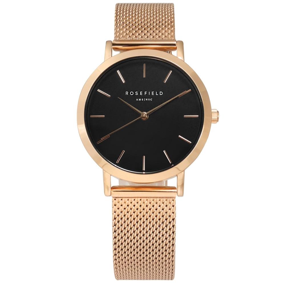 ROSEFIELD 簡約典雅 超薄 米蘭編織不鏽鋼手錶 黑x鍍玫瑰金 TBR-T59 33mm