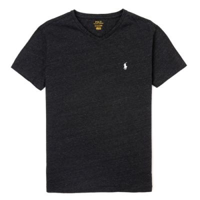 Polo Ralph Lauren 經典刺繡小馬V字領素面短袖T恤-深灰色