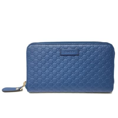 GUCCI 古馳 經典Guccissima GG壓紋牛皮拉鍊長夾(藍色)